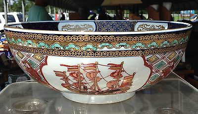 "Vintage Gold Imari Japanese  10"" Bowl Intricate Hand Painted Porcelain Ornate"