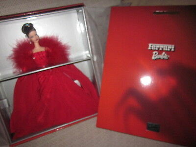 Ferrari Barbie Brunette In Red Chiffon Evening Wear Nrfb!