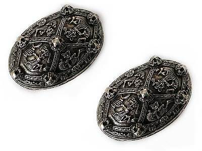 Asgard Pewter Viking Pair of Large Oval Gripping Beast 'Tortoise' Brooches