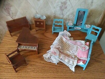 Vintage LOT of Dollhouse Furniture Wood, Etc. Doll House Furniture GERMANY MARK
