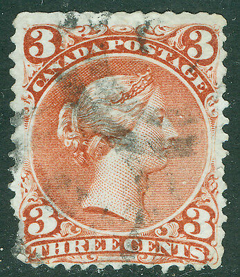 1868 Canada 3 Cent Large Queen -  Used - Uni#25ii Rose Red