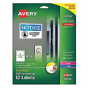 """AVERY Polyester Label,7-1/2""""Wx5""""H,25 No. of Labels,PK25, 00754, White"""