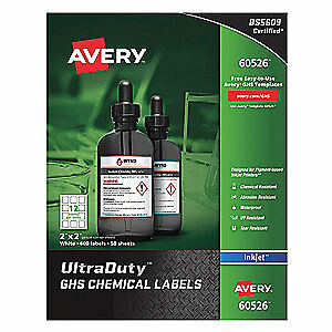 "AVERY Synthetic Film GHS Chem Label,2""W x2""H,600 Labels,PK600, 60526, White"