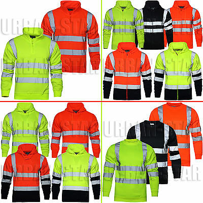 Hi Viz Vis High Visibility Hoodie Sweatshirt Two Tone Hoody Pullover Fleece Top