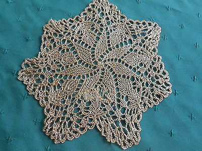 Silk Hand Crochet Lace Doily In A Pinwheel Pattern, Ecru Color, Circa 1920