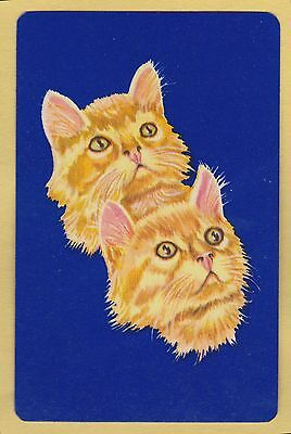 1 Single VINTAGE Swap/Playing Card MINT CATS DOUBLE GINGER CAT HEADS On Blue
