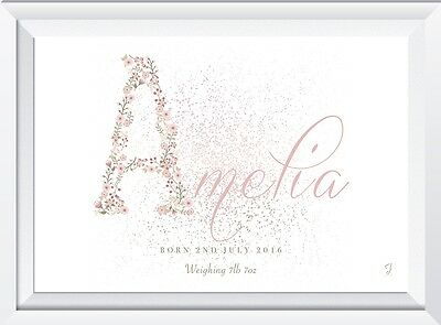 Personalised baby child name print picture laser sw crystal gift christening art