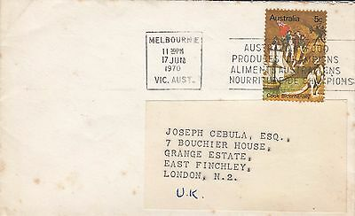 K 1795 Melbourne seamail  Commonwealth rate 5c Cook stamp solo cover UK