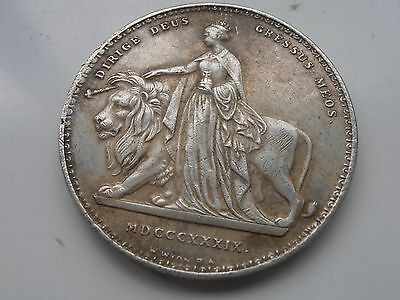 1837 Silver plated Victorian Large £5 coin Una and the Dragon Restrike