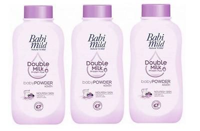 3x180g Babi Mild Double Milk Protein Dry Comfort Baby Powder Dermatological