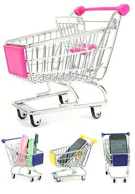 Mini Desktop Desk Top Organizer Shopping Cart (Pink) Pen Pencil Holder 1 Pc New