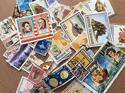 40 Mixed Real Worldwide Postage Stamps for Crafts. Art Projects, Decoupage