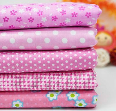 5 Craft Pink Pre Cut Cotton Fabric Quilt Sewing Bundle Patchwork Square Pack DIY