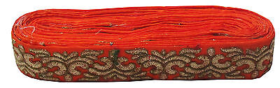 Indian Embroidered Prom Dress Border 5 YD Trim Orange Craft Lace COLLECTIBLE