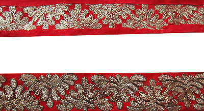 Indian Embroidered Prom Dress Border 5 YD Trim Red Ribbon Craft Lace COLLECTIBLE