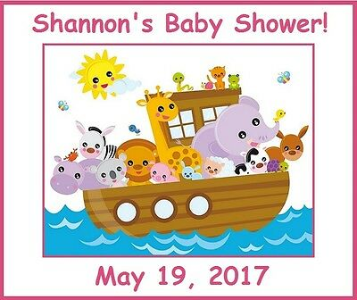 (18)Personalized Noah's Ark Party Stickers,Birthday, baby Shower Labels Girl