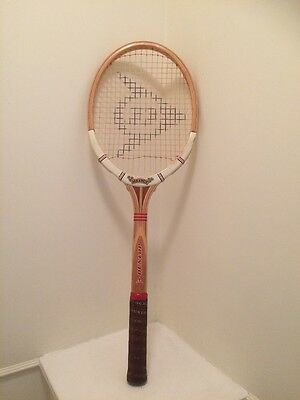 Vintage Retro Wooden Tennis Racket Dunlop Maxply Fort Made In England
