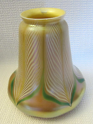 Steuben Signed Iridescent Pulled Feather Art Glass Lamp Shade