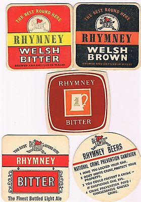 5 x Rhymney Bierdeckel Sous Bocks Beermats Beer Mats Coasters