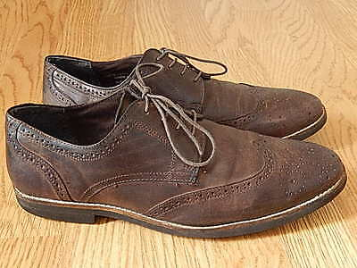 George Men's Leather Brogue Shoes Brown Size 10
