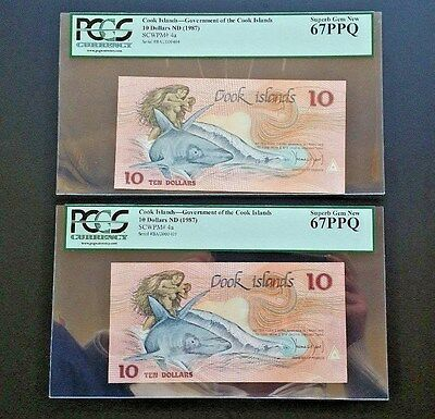 2 - Cook Islands - $10 Nd (1987 ) Pcgs 67 Consecutive Serial Numbers