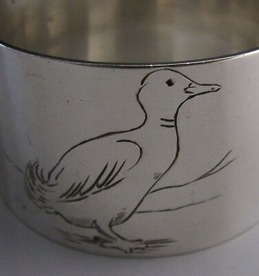 Unusual English Sterling Silver Duck Napkin Ring 1941