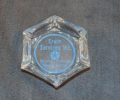 Erwin Chrysler Plymouth Service & Sales Advertising Glass Cigarette Ashtray