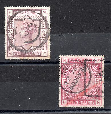 GB QV 1883 2s 6d SG178 and 5s SG180 used JN13