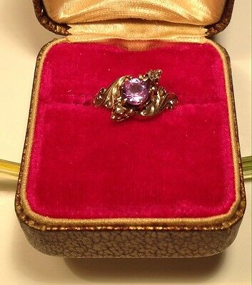 Antique (ca. 1885) 12K Rose Gold, Amethyst and Diamond Ring (Size 6.5)