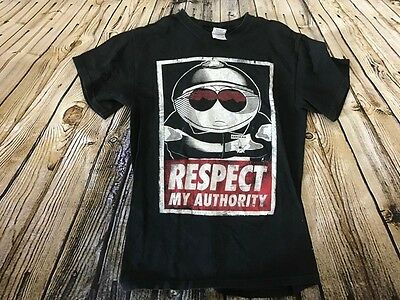 SOUTH PARK Respect my Authority Cartman Black White T Shirt Size Small