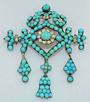 Victorian Persian Turquoise & Natural Pearl Brooch 800 Silver