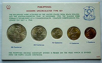 1964 PHILIPPINES - MINT BU UNC TYPE SET (5) - 1 thru 50 CENTAVOS - RARE BEAUTY!