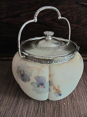 Antique 19thC Mt Washington Crown Milano Painted Pansy Flower Glass Biscuit Jar