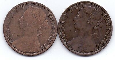 2 COINS- 1877 QUEEN VICTORIA PENNY (wide date)