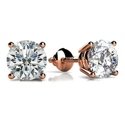 Solid 14k Rose Gold 1.5 ct D VVS1 Round Cut Solitaire Stud Earrings