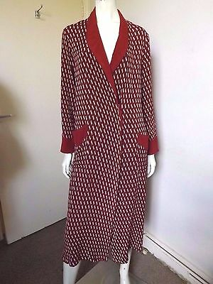 Vintage 30s/40s ~ ORIGINAL Burgundy Crepe Art Deco Dressing Gown Robe S/M