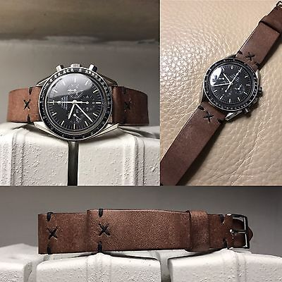 20 mm light Brown X style stitches Leather Strap bracelet for vintage watches