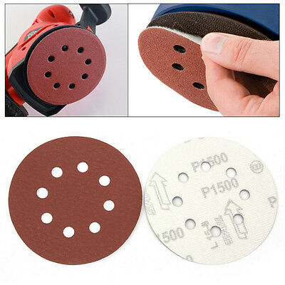 10Pcs 5 Inch 8 Holes Abrasive Sandpapers 1500 Grit Waterproof