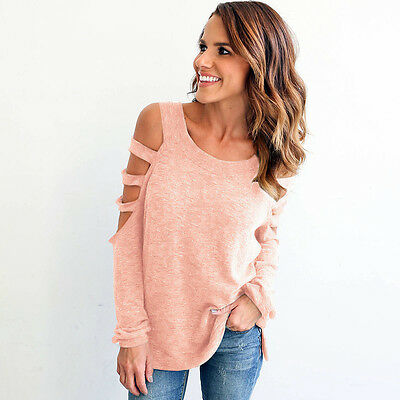 Women Summer Loose Blouse Casual Tops Off Shoulder Long Sleeve Solid T Shirt