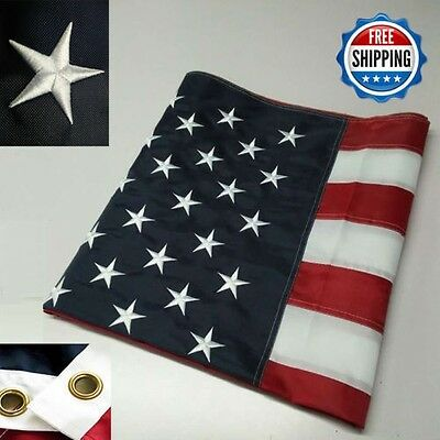3' x 5' FT Embroidered U.S.A. American Flag with Brass Grommet HIGH QUALITY USMC