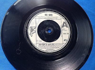 """7"""" 45Rpm Vinyl Bee Gees """"How Deep Is Your Love"""" And """"Can't Keep A Good Man Down"""""""