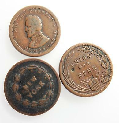 USA Civil War token cent x 3 different