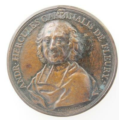 France Cardinal Fleury 1736 by Dassier bronze medal benefits of peace Louis XV