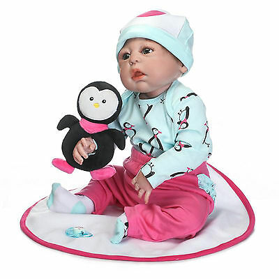 "22"" Newborn Reborn Girl Baby Doll Lifelike Bath Toy Full Body Vinyl Silicone NEW"