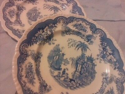 Two blue and white plates,bombay.