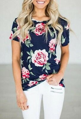 Fashion Women Summer Short Sleeve Floral Shirt Blouse Casual Tops Loose T Shirt