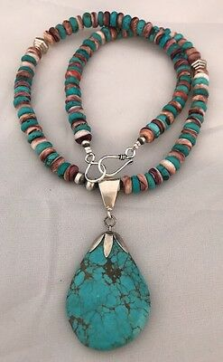 Native American Sterling Silver Turquoise Purple Spiny Oyster Necklace Pendant