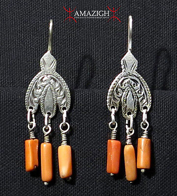 Antique Berber Earrings - Hilal and Mediterranean Coral - Morocco