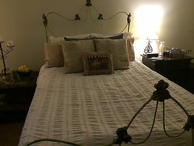 Antique Wrought-Iron Double/Full Bed Frame, Rails & Heavy Wood Support Boards
