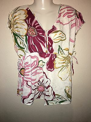 Old Navy Maternity Top Floral Pink Red Yellow Green SZ M